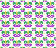 Mardi Gras seamless pattern with carnival mask. Masquerade background, texture, paper. Vector illustration. Mardi Gras seamless pattern with carnival mask Stock Photography