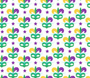 Mardi Gras seamless pattern with carnival mask. Masquerade background, texture, paper. Vector illustration. Mardi Gras seamless pattern with carnival mask Royalty Free Stock Images