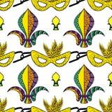 Mardi Gras seamless pattern royalty free stock image