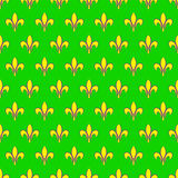 Mardi Gras seamless pattern with fleur de lis or lily icon. Flat elements of yellow color on a green background. Festive  il. Lustration. It can be used for Stock Photography