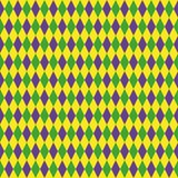 Mardi Gras seamless pattern with green, purple and yellow diamond. Abstract geometric background. fat Tuesday.  Royalty Free Stock Images