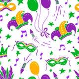 Mardi Gras seamless pattern stock photography