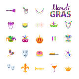 Mardi Gras Set des éléments décoratifs de carnaval Photographie stock