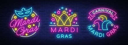 Mardi Gras set of design template for greeting cards, flyers. Fat Tuesday is collection of festive illustrations in neon. Style, neon sign, festive symbol stock illustration