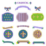Mardi Gras symbols icons ribbon set. Set Vintage Mardi Gras carnival fleur de lis, fleur-de-lis symbols, stickers, ribbon banners, garland, borders, bow tie Royalty Free Stock Photography