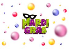 Mardi Gras shimmer pearl backdrop. Colored blurred pearls shimmer random falling. Comics text black mask isolated. Mardi Gras - Fat Tuesday carnival carnival in Royalty Free Stock Image