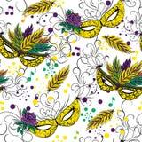 Mardi Gras or Shrove Tuesday seamless pattern Royalty Free Stock Photo
