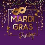 Mardi Gras som guld blänker text med, mousserar Fransk liljaliljasymbol för maskeradkarneval Amerikan New Orleans feta tisdag royaltyfri illustrationer