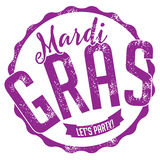 Mardi Gras stamp. EPS 10 vector stock illustration for greeting card, ad, promotion, poster, flier, blog, article, social media, marketing