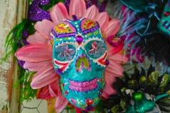 Mardi Gras Sugar Skull arkivbilder