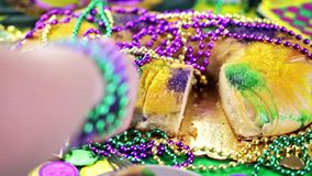 Mardi Gras. Table decorated for Mardi Gras party