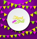 Mardi Gras Traditional Card, Bunting Background Royalty Free Stock Image