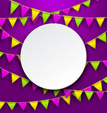 Mardi Gras Traditional Card, Bunting Background Stock Photo