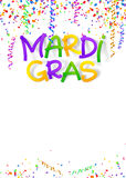 Mardi Gras traditional colors sign on confetti and serpentine poster background Stock Images