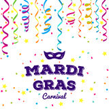 Mardi Gras traditional symbols collection - carnival masks, party decorations. Vector illustration Royalty Free Stock Image
