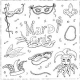 Mardi Gras traditional symbols collection. Carnival masks, party decorations. Stock Images