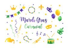 Mardi Gras traditional symbols collection whis carnival masks, party decorations. Watercolor silhouettes mardi gras vector illustration