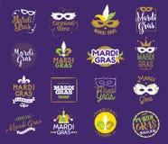 Mardi Gras typography set. Royalty Free Stock Photo