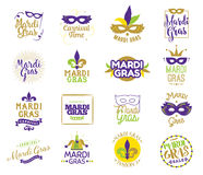 Mardi Gras typography set. Vector emblems, logo with text. Usable for greeting cards, banners, gift packaging. Fat tuesday, carnival.  elements Royalty Free Stock Image