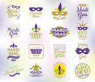 Mardi Gras typography set. Vector emblems, logo with text. Usable for greeting cards, banners, gift packaging. Fat tuesday, carnival. Isolated elements