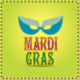 Mardi gras vector background with mask and text Royalty Free Stock Images