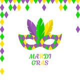 Mardi Gras vector. Mardi Gras. Carnival mask with feathers. Vector illustration flat design. Isolated on white. Masquerade party, poster. Happy Carnival Festive stock illustration