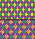 Mardi Gras vector carnival rhombic pattern. Fat or Shrove Tuesday poster, invitation, greeting card etc. Mardi Gras vector carnival rhombic pattern. Used for Stock Images