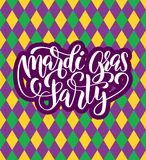 Mardi Gras vector hand lettering. Fat or Shrove Tuesday poster, invitation, greeting card with carnival rhombic pattern. Mardi Gras vector hand lettering. Fat Stock Photo