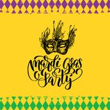 Mardi Gras vector hand lettering. Fat Tuesday greeting card, invitation with mask illustration. Carnival background. Mardi Gras vector hand lettering greeting Royalty Free Stock Photos