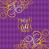 Mardi Gras vector hand lettering greeting card. Fat, Shrove Tuesday poster, invitation on ornate pattern background. Mardi Gras vector hand lettering greeting Stock Photos