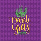 Mardi Gras vector hand lettering greeting card. Fat, Shrove Tuesday poster with mask illustration. Carnival background. Mardi Gras vector hand lettering Stock Images