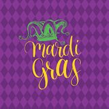 Mardi Gras vector hand lettering greeting card. Fat Tuesday poster with Jester Hat illustration. Carnival background. Mardi Gras vector hand lettering greeting Royalty Free Stock Photos