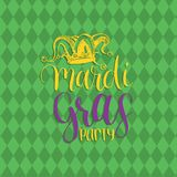 Mardi Gras vector hand lettering greeting card. Fat Tuesday poster with Jester Hat illustration. Carnival background. Mardi Gras vector hand lettering greeting Stock Image