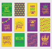 Mardi Gras vector hand lettering greeting cards set. Fat,Shrove Tuesday illustrations of jester hats,masks for stickers. Mardi Gras vector hand lettering Royalty Free Stock Image