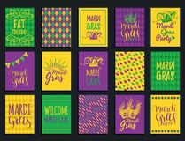 Mardi Gras vector hand lettering greeting cards set. Fat,Shrove Tuesday illustrations of jester hats,masks for stickers. Mardi Gras vector hand lettering Stock Photo