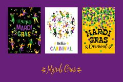 Mardi Gras Vector Schablonen für Karnevalskonzept und andere Benutzer Lizenzfreies Stockbild