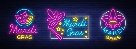 Mardi Gras vector, set of symbols,with holiday greetings, festive card. Fat Tuesday, festive illustration in neon style. Luminous banner, neon sign, bright Stock Photography