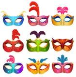 Mardi Gras Venetian handmade carnival masks. Face masks collection for masquerade party. Vector. Illustration Stock Image