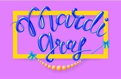 Mardi Gras, Vette Dinsdag, vector van letters voorziende illustratie in 3d stijl met rechthoekig kader en parels Ontwerpmalplaatj Stock Afbeelding
