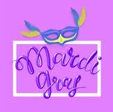 Mardi Gras, Vette Dinsdag, vector van letters voorziende illustratie in 3d stijl Ontwerpmalplaatje van affiche of banner voor par Royalty-vrije Stock Fotografie