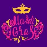 Mardi Gras vintage lettering background Royalty Free Stock Image