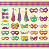 Mardi Gras wear decoration vector icons set. Mardi Gras decoration wear accessories set of carnival mask, bow tie with harlequin pattern and masquerade mustache Royalty Free Stock Image