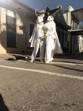 Mardi Gras Wedding. A masked couple weds during Mardi Gras in the French Quarter of New Orleans, Louisiana Royalty Free Stock Photography