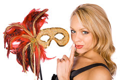 Mardi Gras: Woman With A Secret Stock Photo
