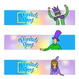 Mardi Grass banners. Headers for website or leaflet. Lettering and characters in carnival costumes and masks. Vector stock illustration