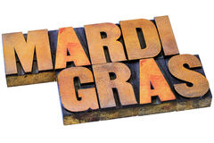 Mardi Grass letterpress typography Royalty Free Stock Image