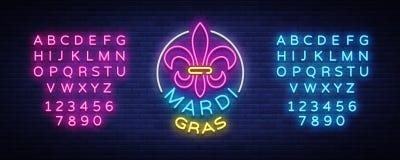 Mardi Grav是一个霓虹灯广告 明亮的发光的横幅,霓虹广告牌,狂欢节霓虹广告  肥胖星期二设计 向量例证