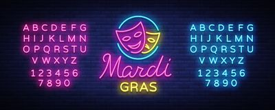 Mardi Grav неоновая вывеска Яркое накаляя знамя, неоновая афиша, неоновая реклама масленицы Тучный дизайн вторника иллюстрация вектора