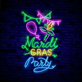 Mardi Grav is a neon sign. Bright glowing banner, neon billboard, neon advertising of carnival. Fat Tuesday Design template, vector illustration