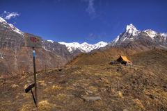 Mardi himal base camp and machapuchare mountain Stock Photos